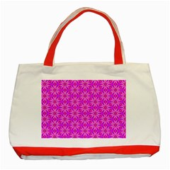 Pink Snowflakes Spinning In Winter Classic Tote Bag (red) by DianeClancy