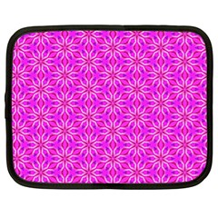 Pink Snowflakes Spinning In Winter Netbook Case (xl)  by DianeClancy