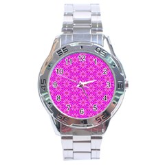Pink Snowflakes Spinning In Winter Stainless Steel Analogue Watch by DianeClancy