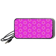 Pink Snowflakes Spinning In Winter Portable Speaker (black)  by DianeClancy