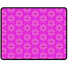 Pink Snowflakes Spinning In Winter Double Sided Fleece Blanket (medium)  by DianeClancy