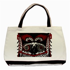 Angel Twin Sided Black Tote Bag Canvas