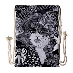 Vintage Smoking Woman Drawstring Bag (large)