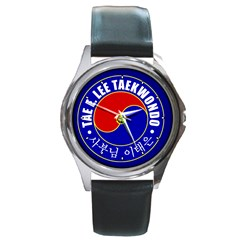 TaeELeeWatch-Silver Round Leather Watch (Silver Rim) by BankStreet