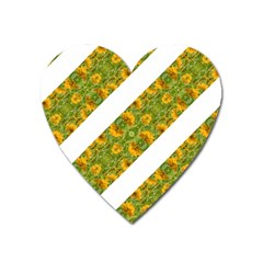 Indian Floral Pattern Stripes Heart Magnet by dflcprints