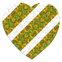 Indian Floral Pattern Stripes Jigsaw Puzzle (heart) by dflcprints