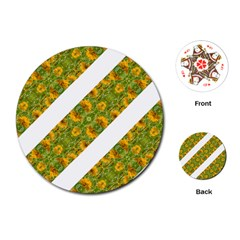 Indian Floral Pattern Stripes Playing Cards (Round)  by dflcprints