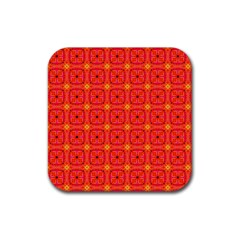 Peach Apricot Cinnamon Nutmeg Kitchen Modern Abstract Rubber Square Coaster (4 Pack)  by DianeClancy