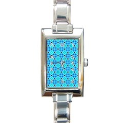 Vibrant Modern Abstract Lattice Aqua Blue Quilt Rectangle Italian Charm Watch by DianeClancy
