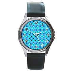 Vibrant Modern Abstract Lattice Aqua Blue Quilt Round Metal Watch by DianeClancy