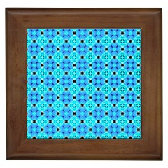 Vibrant Modern Abstract Lattice Aqua Blue Quilt Framed Tiles by DianeClancy