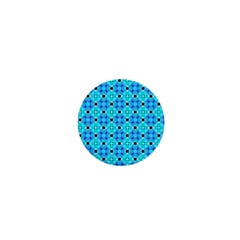 Vibrant Modern Abstract Lattice Aqua Blue Quilt 1  Mini Buttons by DianeClancy