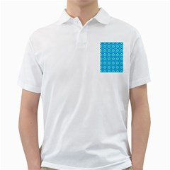 Vibrant Modern Abstract Lattice Aqua Blue Quilt Golf Shirts by DianeClancy