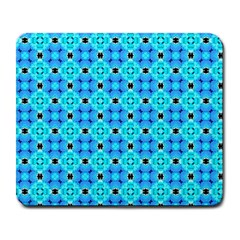 Vibrant Modern Abstract Lattice Aqua Blue Quilt Large Mousepads by DianeClancy