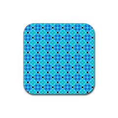 Vibrant Modern Abstract Lattice Aqua Blue Quilt Rubber Square Coaster (4 Pack)  by DianeClancy