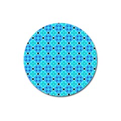 Vibrant Modern Abstract Lattice Aqua Blue Quilt Magnet 3  (round) by DianeClancy