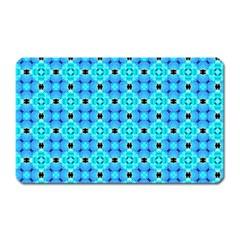 Vibrant Modern Abstract Lattice Aqua Blue Quilt Magnet (rectangular) by DianeClancy