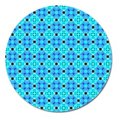 Vibrant Modern Abstract Lattice Aqua Blue Quilt Magnet 5  (round) by DianeClancy