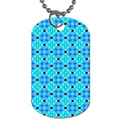 Vibrant Modern Abstract Lattice Aqua Blue Quilt Dog Tag (two Sides) by DianeClancy