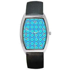 Vibrant Modern Abstract Lattice Aqua Blue Quilt Barrel Style Metal Watch by DianeClancy