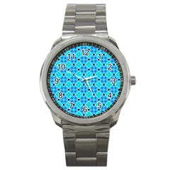 Vibrant Modern Abstract Lattice Aqua Blue Quilt Sport Metal Watch by DianeClancy