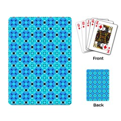 Vibrant Modern Abstract Lattice Aqua Blue Quilt Playing Card by DianeClancy