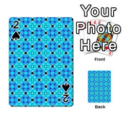 Vibrant Modern Abstract Lattice Aqua Blue Quilt Playing Cards 54 Designs  by DianeClancy