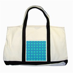 Vibrant Modern Abstract Lattice Aqua Blue Quilt Two Tone Tote Bag by DianeClancy
