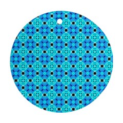 Vibrant Modern Abstract Lattice Aqua Blue Quilt Round Ornament (two Sides)  by DianeClancy