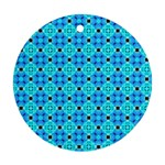 Vibrant Modern Abstract Lattice Aqua Blue Quilt Round Ornament (Two Sides)  Back