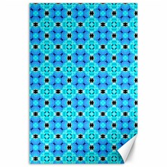 Vibrant Modern Abstract Lattice Aqua Blue Quilt Canvas 24  X 36  by DianeClancy