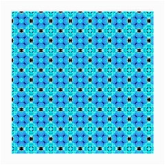 Vibrant Modern Abstract Lattice Aqua Blue Quilt Medium Glasses Cloth (2 Side) by DianeClancy
