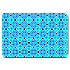 Vibrant Modern Abstract Lattice Aqua Blue Quilt Large Doormat  by DianeClancy