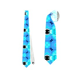 Vibrant Modern Abstract Lattice Aqua Blue Quilt Neckties (one Side)  by DianeClancy