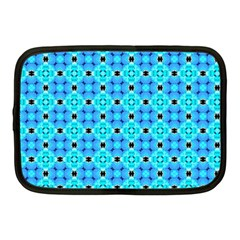 Vibrant Modern Abstract Lattice Aqua Blue Quilt Netbook Case (medium)  by DianeClancy