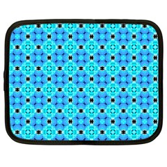 Vibrant Modern Abstract Lattice Aqua Blue Quilt Netbook Case (large) by DianeClancy