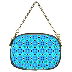 Vibrant Modern Abstract Lattice Aqua Blue Quilt Chain Purses (one Side)  by DianeClancy