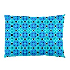 Vibrant Modern Abstract Lattice Aqua Blue Quilt Pillow Case by DianeClancy