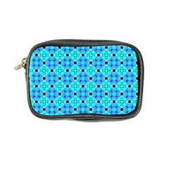 Vibrant Modern Abstract Lattice Aqua Blue Quilt Coin Purse by DianeClancy