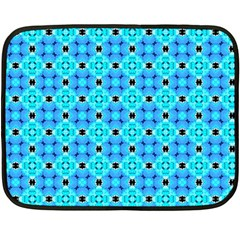 Vibrant Modern Abstract Lattice Aqua Blue Quilt Double Sided Fleece Blanket (mini)  by DianeClancy