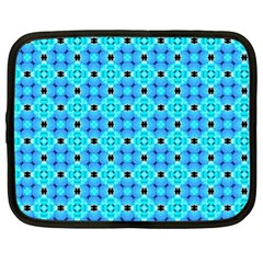 Vibrant Modern Abstract Lattice Aqua Blue Quilt Netbook Case (xl)  by DianeClancy