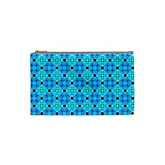 Vibrant Modern Abstract Lattice Aqua Blue Quilt Cosmetic Bag (small)  by DianeClancy