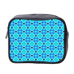 Vibrant Modern Abstract Lattice Aqua Blue Quilt Mini Toiletries Bag 2 Side by DianeClancy