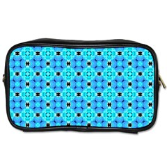 Vibrant Modern Abstract Lattice Aqua Blue Quilt Toiletries Bags by DianeClancy