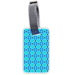 Vibrant Modern Abstract Lattice Aqua Blue Quilt Luggage Tags (two Sides) by DianeClancy