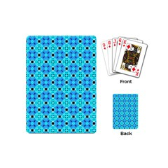 Vibrant Modern Abstract Lattice Aqua Blue Quilt Playing Cards (mini)  by DianeClancy