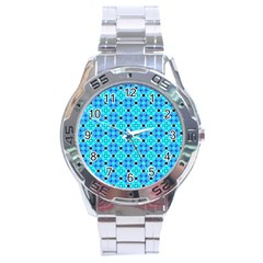 Vibrant Modern Abstract Lattice Aqua Blue Quilt Stainless Steel Analogue Watch by DianeClancy
