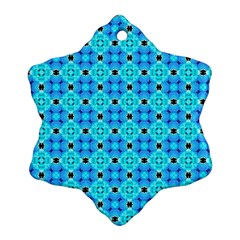 Vibrant Modern Abstract Lattice Aqua Blue Quilt Snowflake Ornament (2 Side) by DianeClancy
