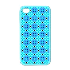 Vibrant Modern Abstract Lattice Aqua Blue Quilt Apple Iphone 4 Case (color) by DianeClancy