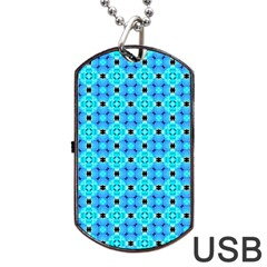 Vibrant Modern Abstract Lattice Aqua Blue Quilt Dog Tag Usb Flash (two Sides)  by DianeClancy